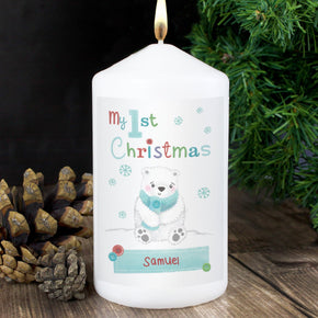 Personalised Polar Bear My 1st Christmas Candle