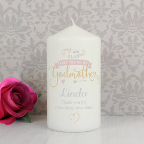 Personalised I Am Glad... Godmother Candle