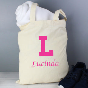 Personalised Pink Initial Cotton Bag