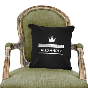 Personalised Reserved For Black Cushion Cover