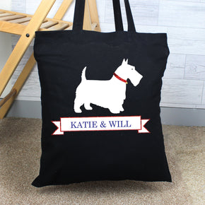 Personalised Scottie Dog Black Cotton Bag
