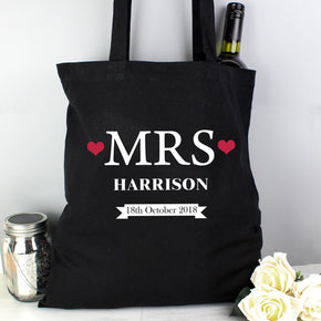 Personalised Mrs Black Cotton Bag