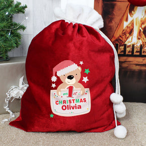 Personalised Pocket Teddy My 1st Christmas Luxury Pom Pom Sack