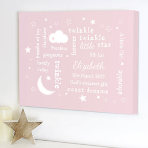 Personalised Twinkle Twinkle Typography Pink Canvas