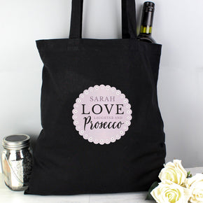 Personalised Lilac Lace 'Love Laughter & Prosecco' Black Cotton Bag