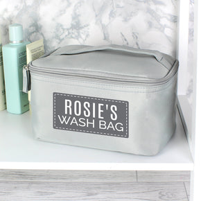 Personalised Classic Grey Make Up Wash Bag