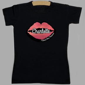 Personalised Rose Gold Lips Hen Party T-Shirt- Black