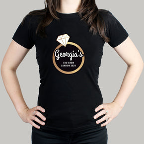 Personalised Gold Bling Ring Hen Party T-Shirt