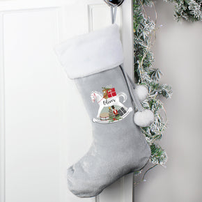 Personalised Grey Rocking Horse Stocking