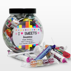 Personalised Rainbow I Love Sweets Jar