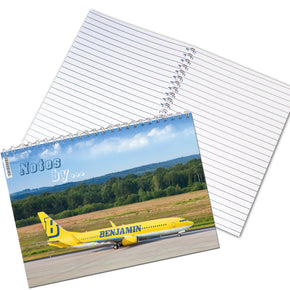 Personalised Airliner Yellow A5 Notebook