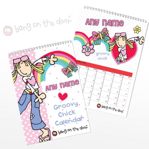 Personalised Groovy Chick A4 Wall Calendar