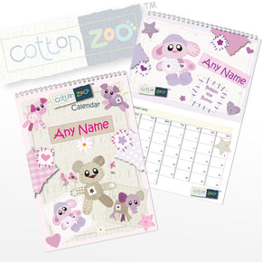 Personalised Cotton Zoo Girls A4 Wall Calendar
