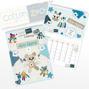 Personalised Cotton Zoo Boys A4 Wall Calendar