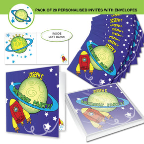 Personalised Space Party Pack of 20 Invitations