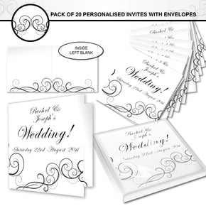Personalised Wedding Swirl Pack of 20 Invitations