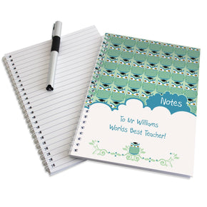 Personalised Mr Owl Teacher A5 Notebook