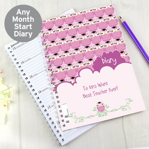 Personalised Miss Owl Teacher A5 Diary