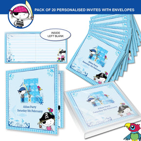 Personalised Pirate Letter Pack of 20 Invitations