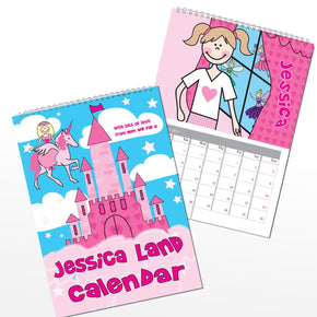 Personalised Princess & Unicorn A4 Wall Calendar