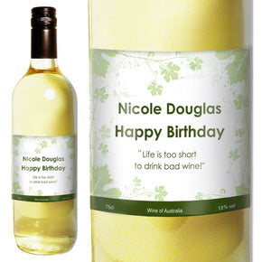 Personalised White Wine Ivy Label with Gift Box