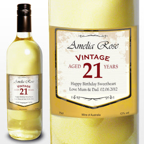 Personalised White Wine Vintage Age Label