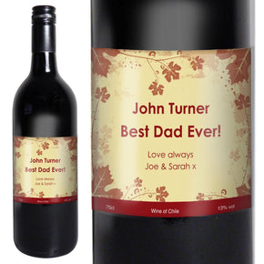 Personalised Red Wine Ivy Label with Gift Box