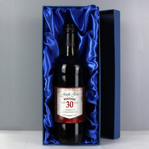 Personalised Red Wine Vintage Age Label with Gift Box
