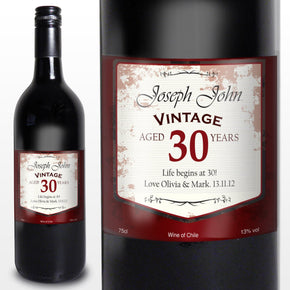 Personalised  Wine With Vintage Age Label With or Without Presentation Box