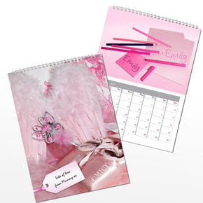 Personalised Little Princess Pink A4 Wall Calendar