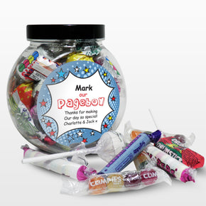 Personalised Comic Pageboy Sweet Jar