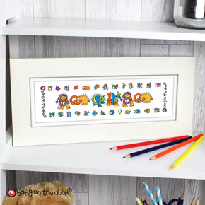 Personalised Bang On The Door Animal Alphabet Boys Name Frame