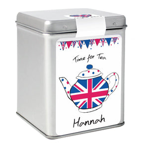 Personalised Union Jack Teapot Tea & Tin