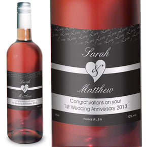 Personalised Couples Heart Rose Wine- Black Design