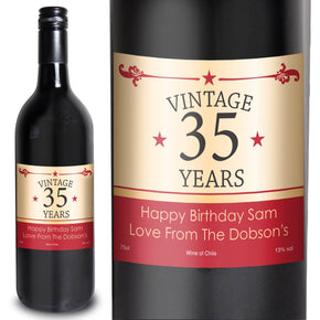 Personalised Vintage Numbers Red Wine