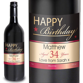 Personalised Happy Birthday Wine