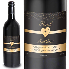 Personalised Couples Heart Wine - Black Design