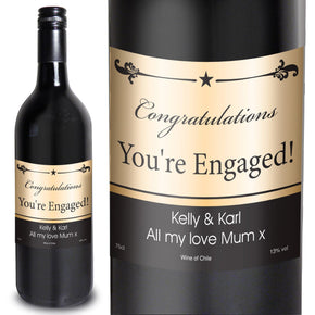 Personalised Black Border Red Wine