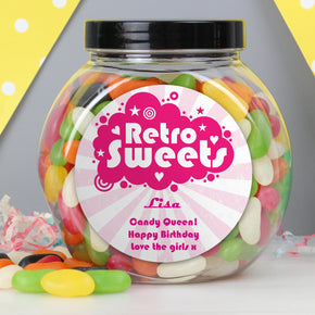 Personalised Retro Pink Jelly Beans Sweet Jar
