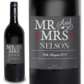 Personalised Mr & Mrs Red Wine