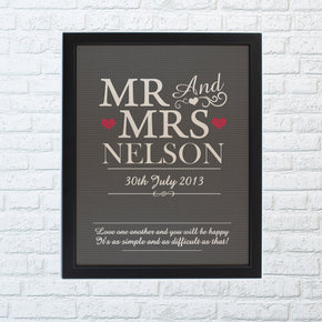 Personalised Mr & Mrs Black Framed Poster Print
