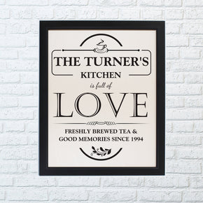 Personalised Full of Love Black Framed Poster Print