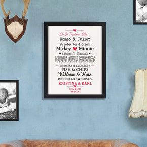 Personalised We Go Together Like.... Black Framed Poster Print