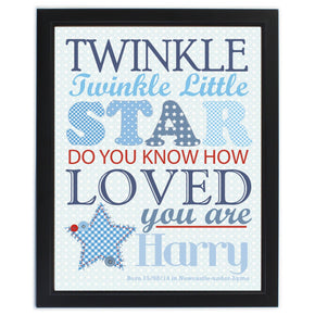 Personalised Twinkle Boys Black Framed Poster Print