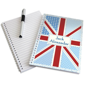 Personalised Patchwork Union Jack A5 Notebook