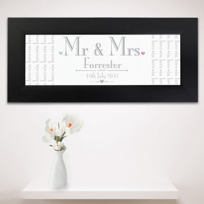 Personalised Decorative Wedding Mr & Mrs Black Name Frame