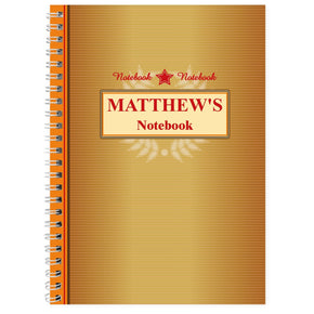 Personalised Gold Award A5 Notebook