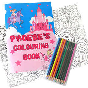 Personalised Princess & Unicorn Colouring Book with Pencil Crayons