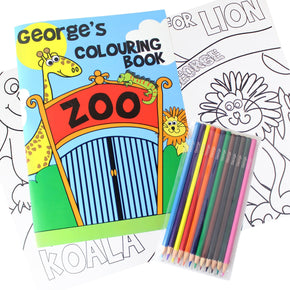 Personalised Zoo Colouring Book with Pencil Crayons
