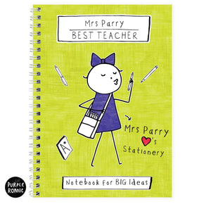 Personalised Purple Ronnie Female Teacher A5 Notebook